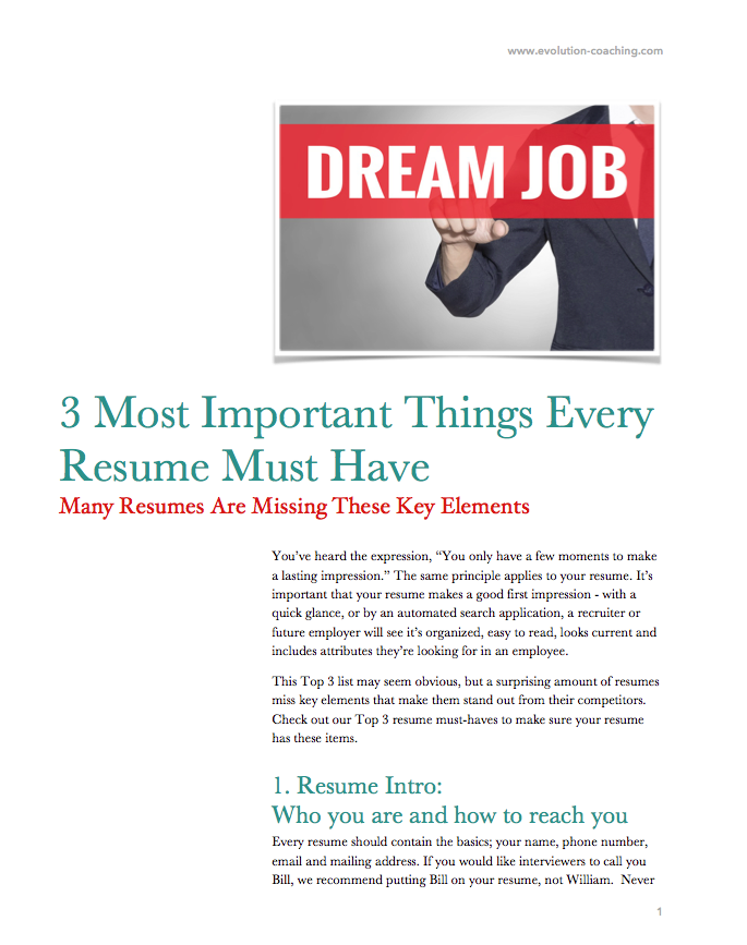 3 most important things that every resume must