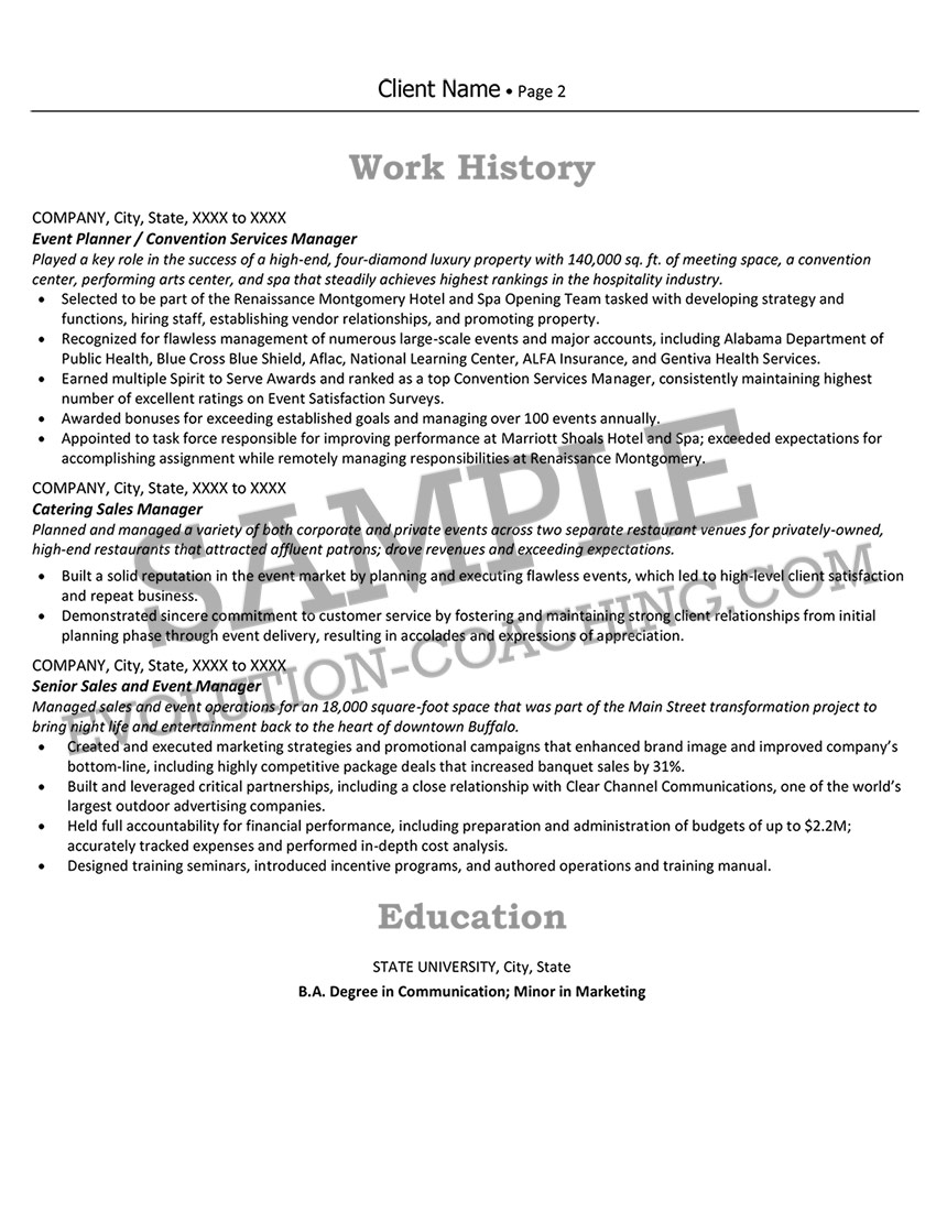 After Resume Sample